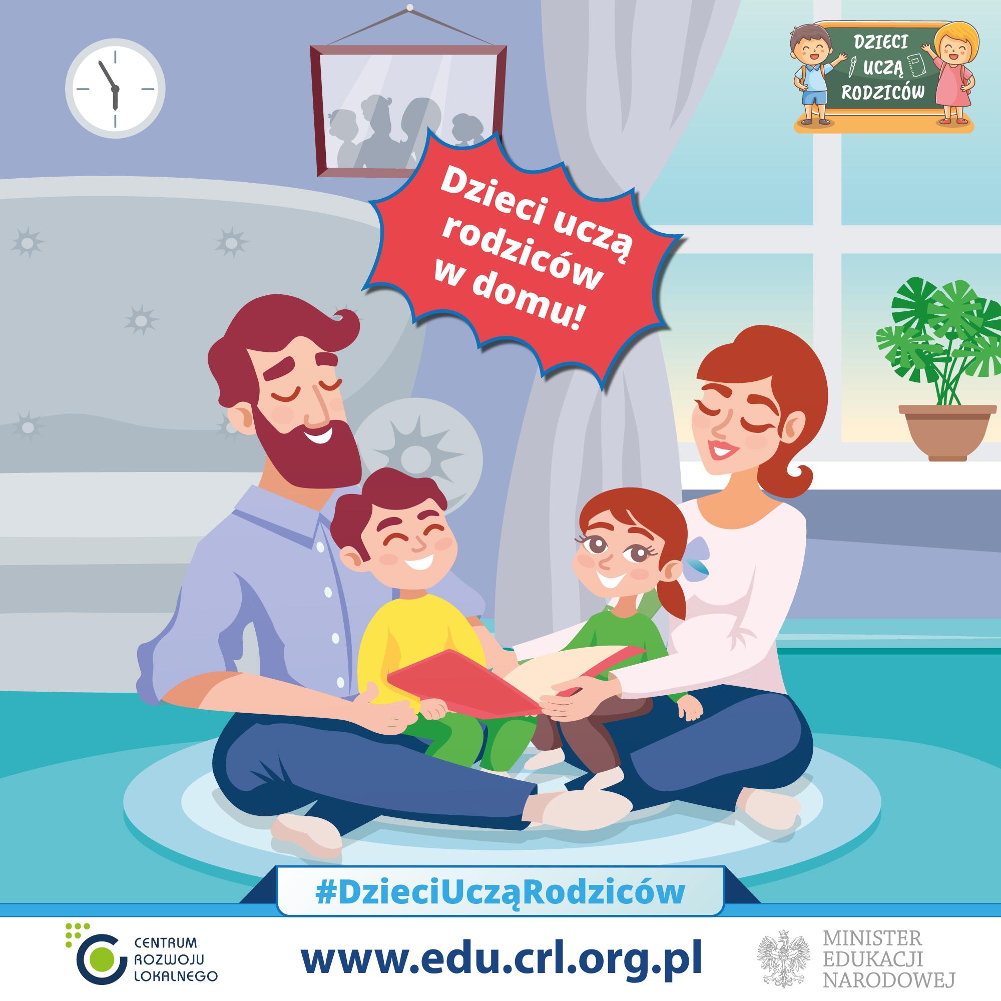 """Ilustracja do informacji: Ogólnopolska akcja edukacyjna """"Dzieci uczą rodziców"""" – darmowe materiały do nauki w domu."""