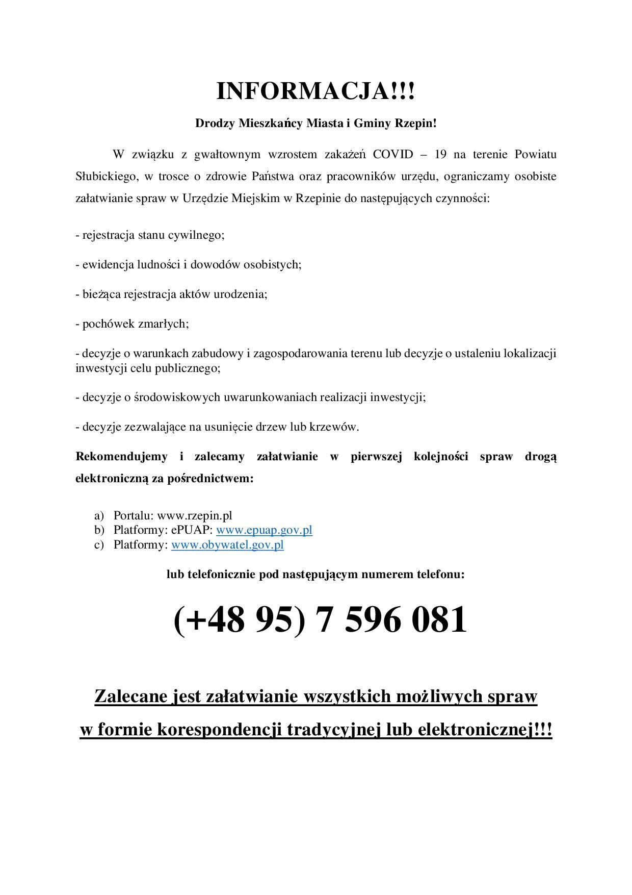 Ilustracja do informacji: Uwaga - ważna informacja dla petentów Urzędu Miejskiego w Rzepinie