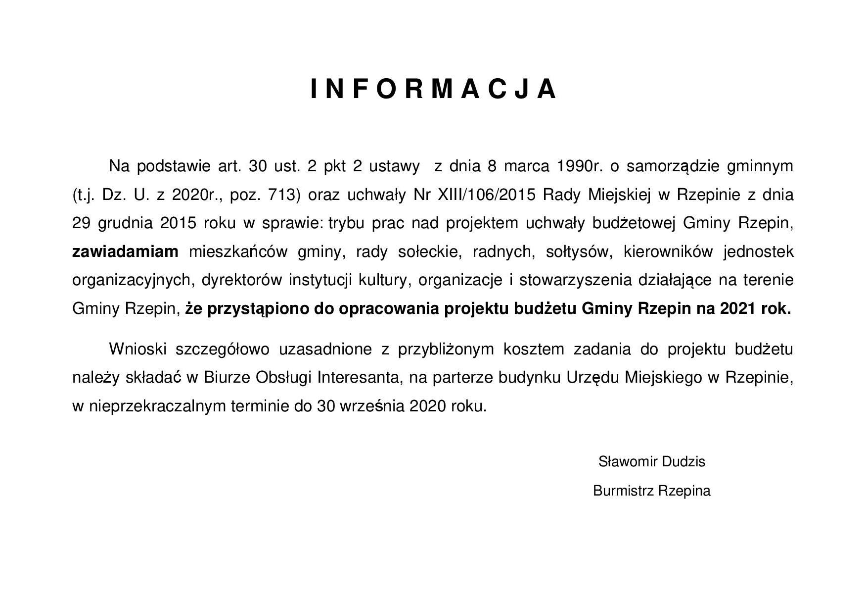 Ilustracja do informacji: Do 30 września można składać wnioski do budżetu Gminy Rzepin na 2021 r.