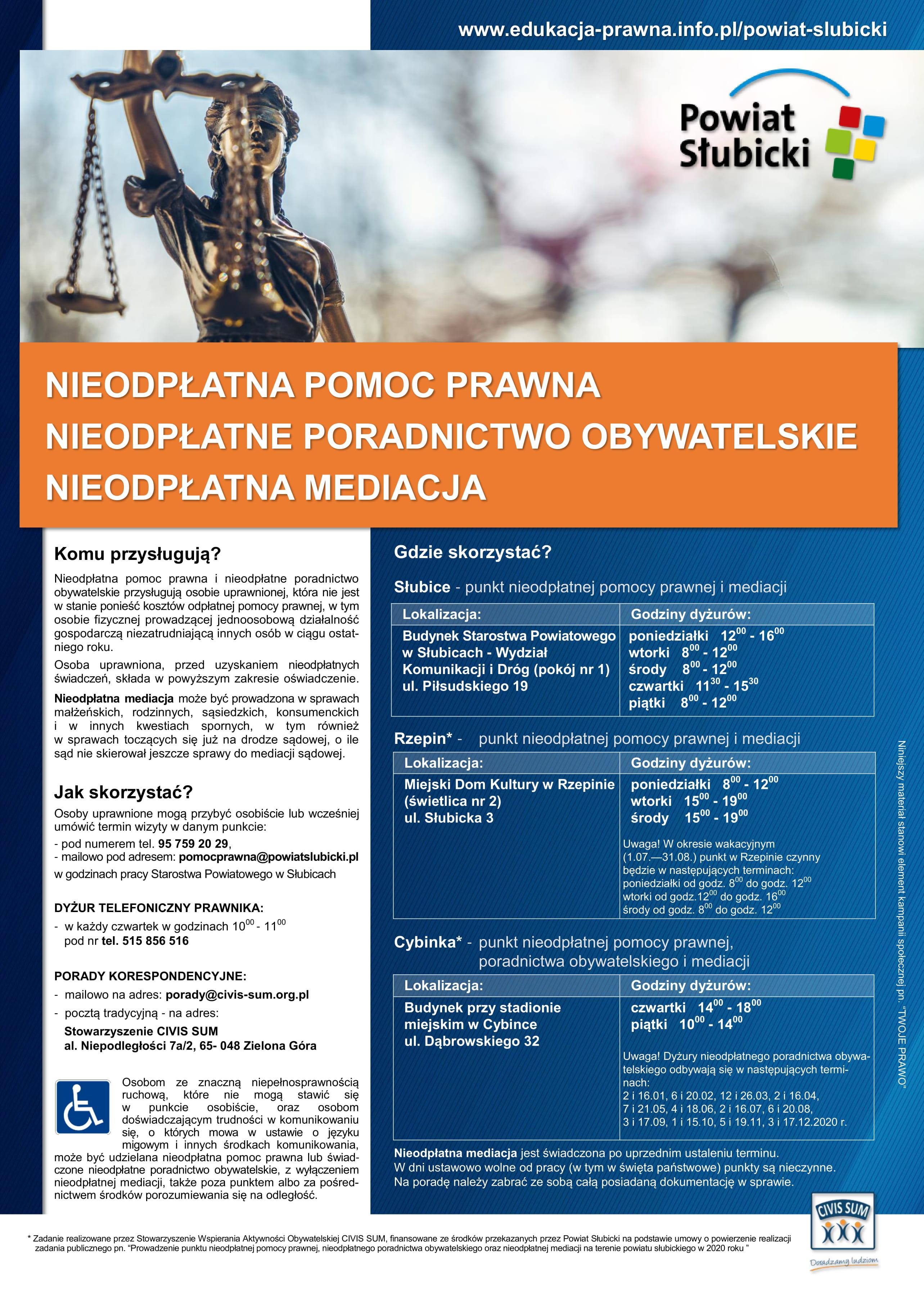 Ilustracja do informacji: Informacje nt. nieodpłatnej pomocy prawnej, poradnictwa obywatelskiego oraz mediacji
