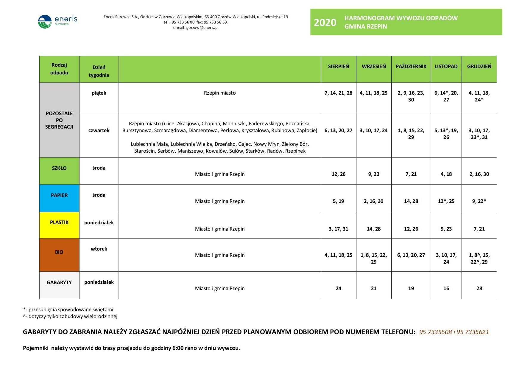 Ilustracja do informacji: Harmonogram odbioru odpadów komunalnych
